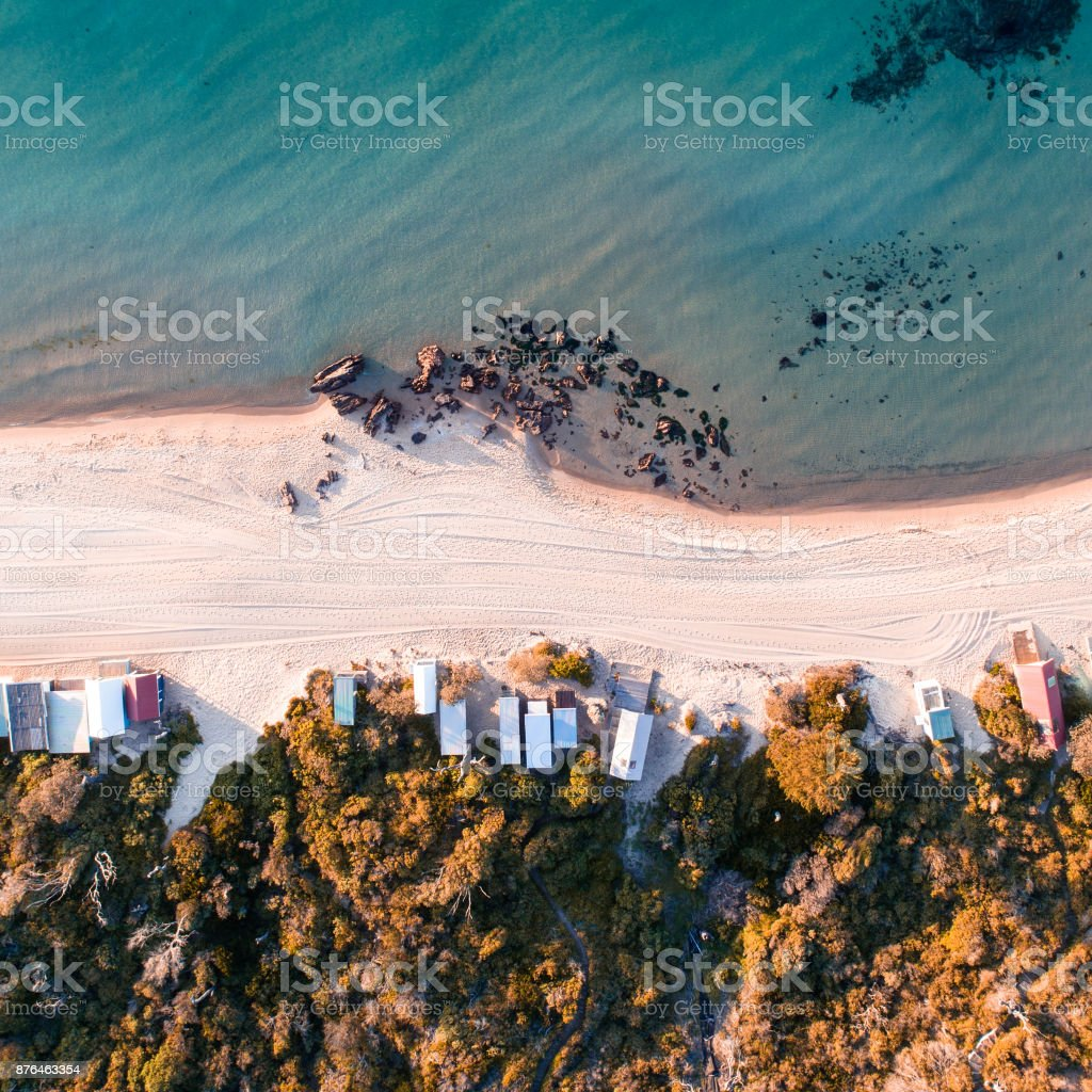 Mornington Peninsula Beach Huts stock photo