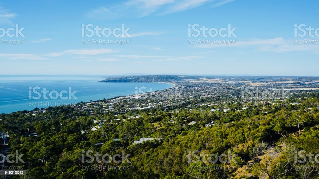 Mornington Peninsula mountain view stock photo