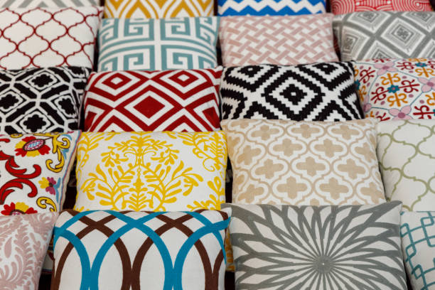 Moroccan arabic, colorful cushions in a street shop in Dubai souk souq stock photo