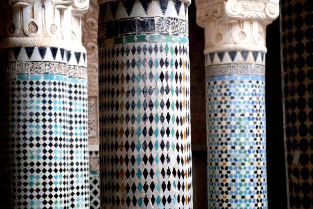Moroccan Architecture Moroccan Architecture , Mederssa coloruful pilar . salé morocco stock pictures, royalty-free photos & images