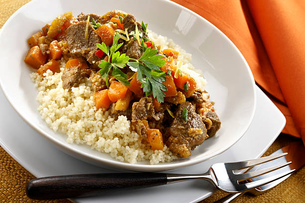 Moroccan Beef Stew over couscous stock photo