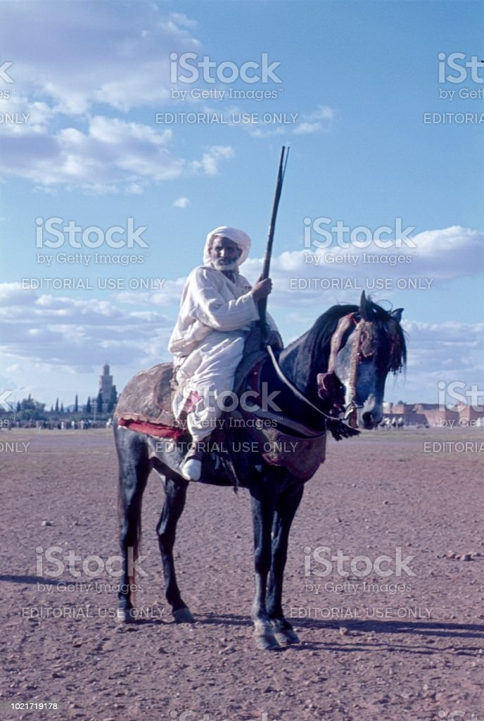 Moroccan Berber on a horse stock photo