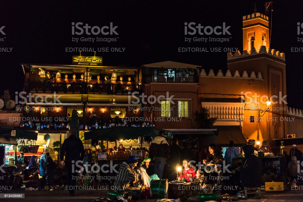 Moroccan Berbers Telling Stories By Candle Light Stock Photo
