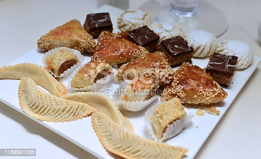 1189561410 istock photo Moroccan biscuits are served with tea. 1189561333