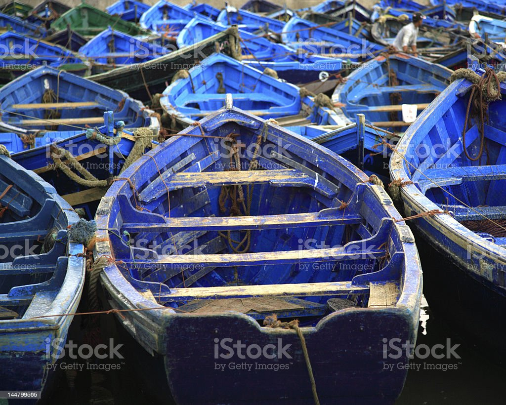 Moroccan blue fishing boats Essaouira Morocco royalty-free stock photo