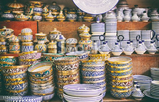 Moroccan bowls and plates in the Souk of Marrakech