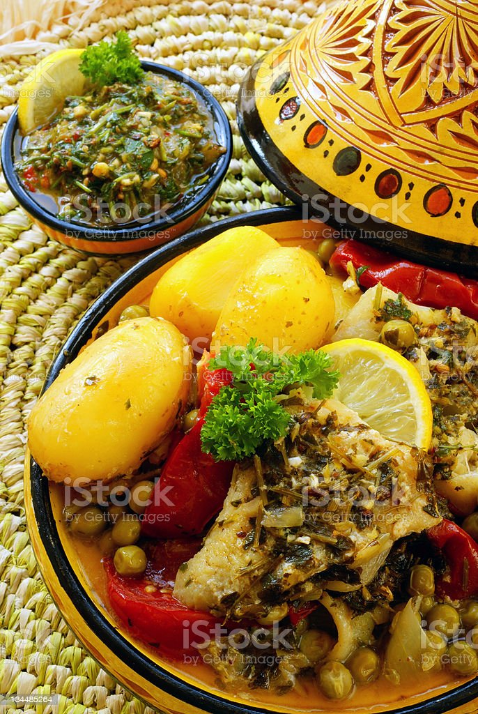 Moroccan Chermoula fish tagine royalty-free stock photo