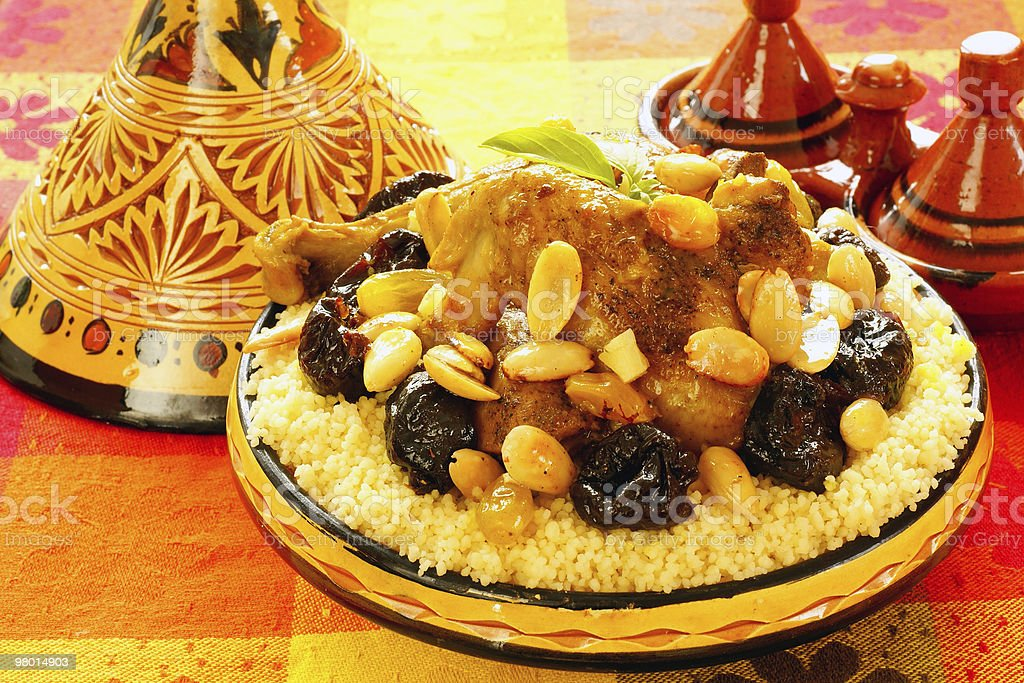 Moroccan chicken with plums and almonds royalty-free stock photo