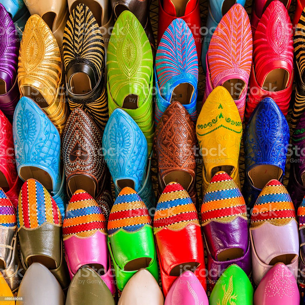 Moroccan colorful slippers for sale, Fez,...