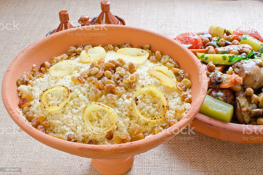 "Moroccan couscous and ""seven vegetables"" tagine royalty-free stock photo"