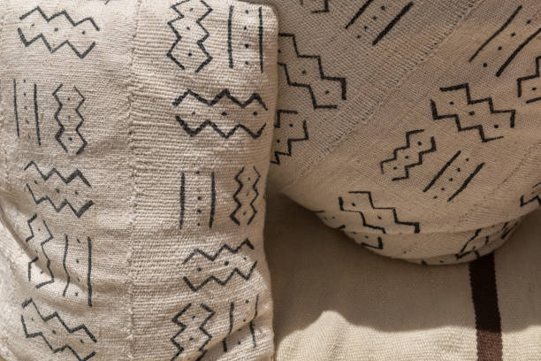 Moroccan cushions with traditional Berber design. stock photo