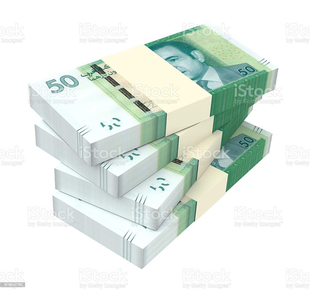 Moroccan dirham bills isolated on white background. stock photo