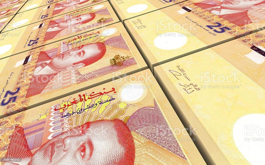 Moroccan dirhams bills stacks background. stock photo