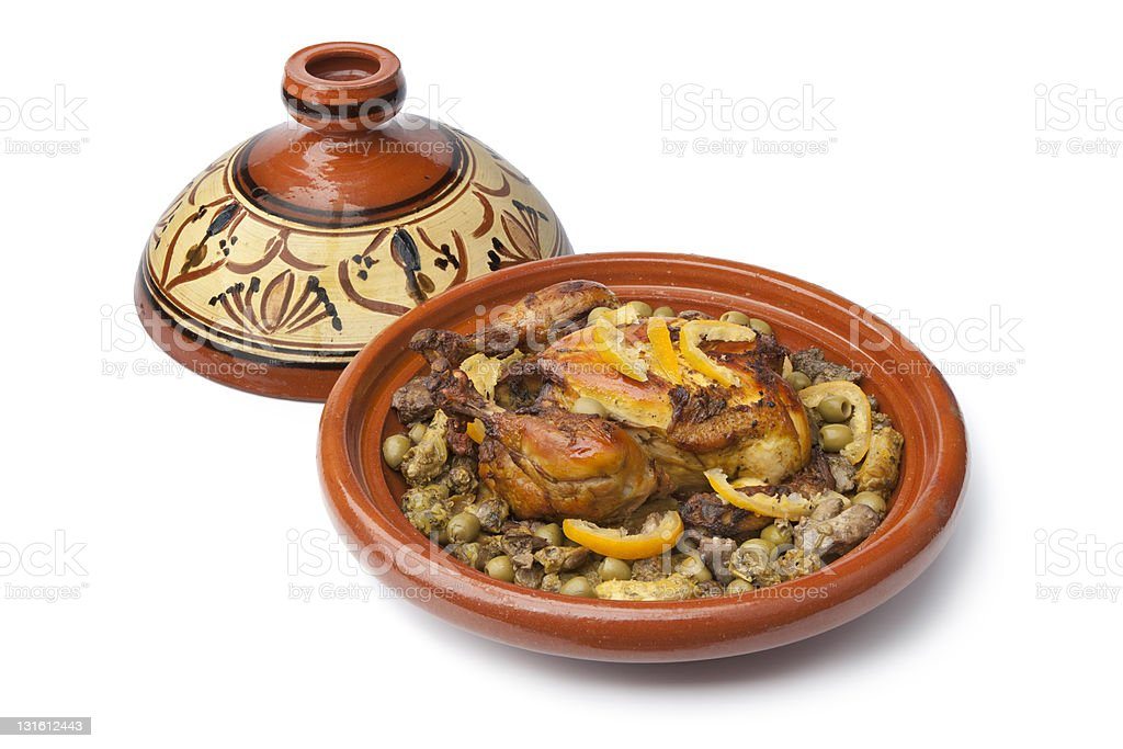 Moroccan dish with chicken and lemon stock photo