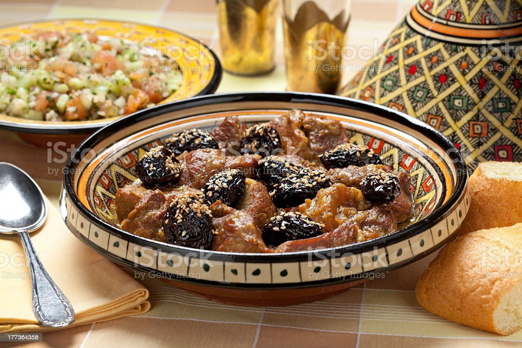 Moroccan dish with meat and plums stock photo