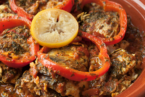 Moroccan Fish Tagine With Chermoula Stock Photo - Download Image Now