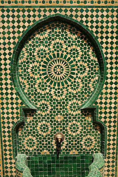 Moroccan fountain detail stock photo