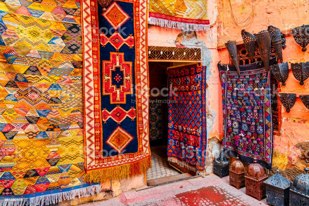 Moroccan handmade carpets and rugs in Marrakech stock photo