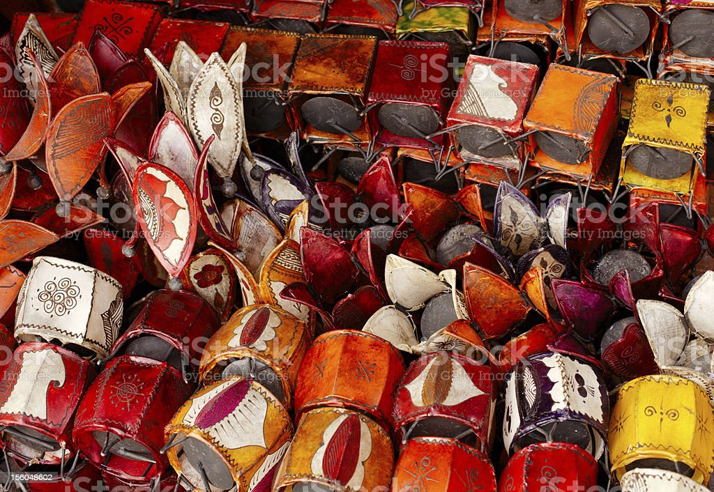 Moroccan leather lanterns lamps in Marrakesh souq royalty-free stock photo