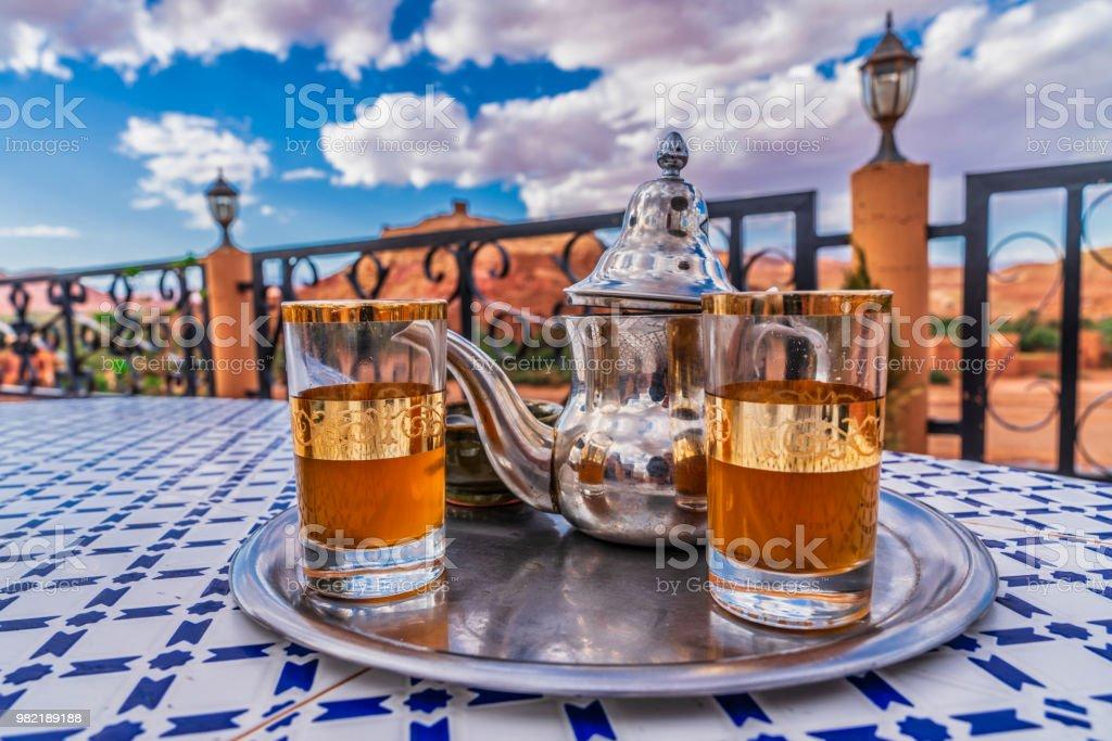 Moroccan Mint Green Tea stock photo