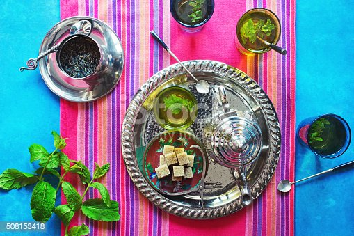 Top down shot of four decorative glasses filled with hot Moroccan mint tea on a metal tray with a matching teapot. A plate of brown sugarcubes is on the tray next to the tea. The tray rests upon a colorful Moroccan tablerunner on top of a sunny countertop. Nearby are two sprigs of fresh mint and a metal container filled with loose leaf green tea.