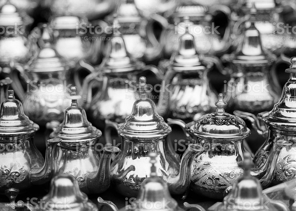 Moroccan mint teapots royalty-free stock photo