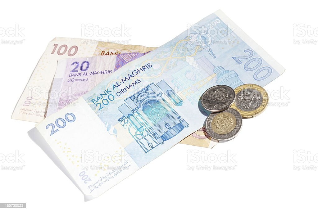 Moroccan money isolated on white. Different banknotes and coins stock photo