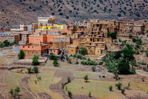 istock Moroccan mountain village along the road across Atlas, Morocco, North Africa 942167304