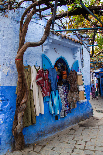 Chefchaouen, Morocco - 20 October, 2019: Street in Chefchaouen city in Morocco, North Africa