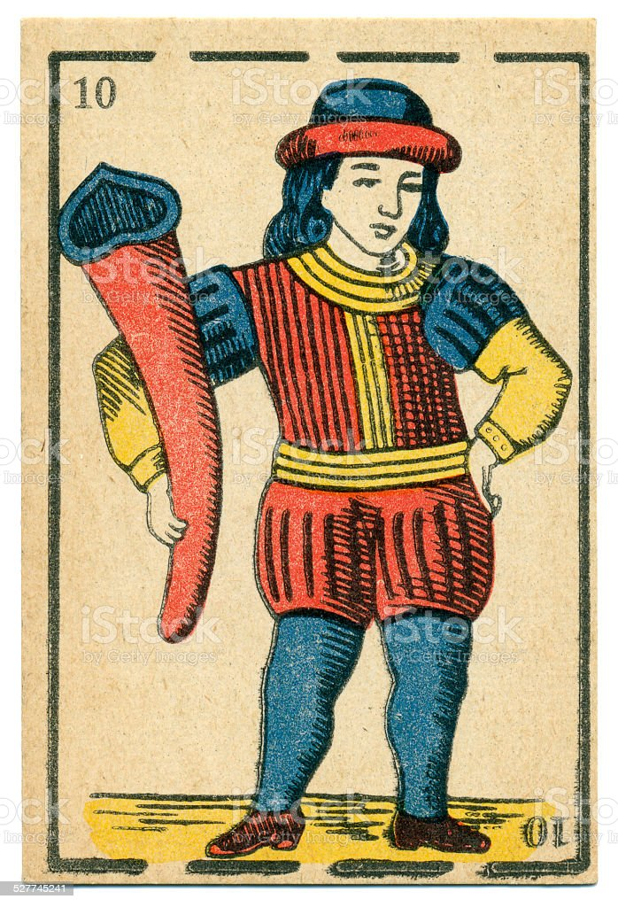 Moroccan playing card baraja 1890 Jack of Clubs stock photo