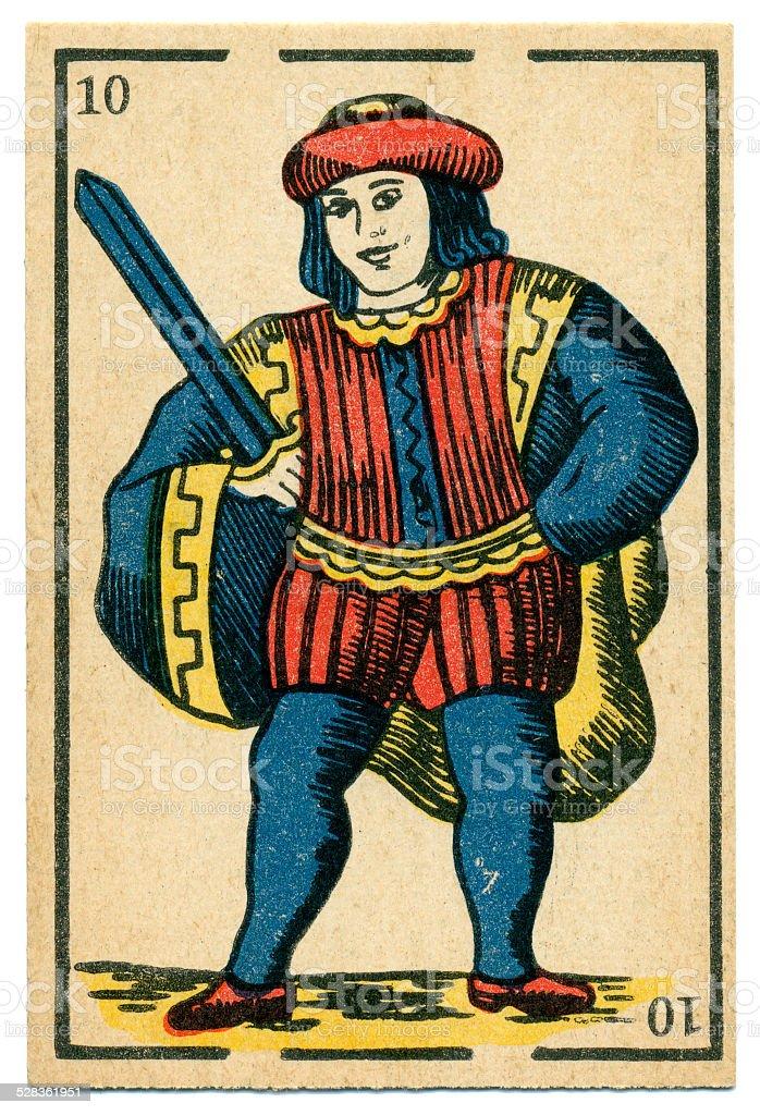 Moroccan playing card baraja 1890 Jack of Spades Espadas Swords stock photo