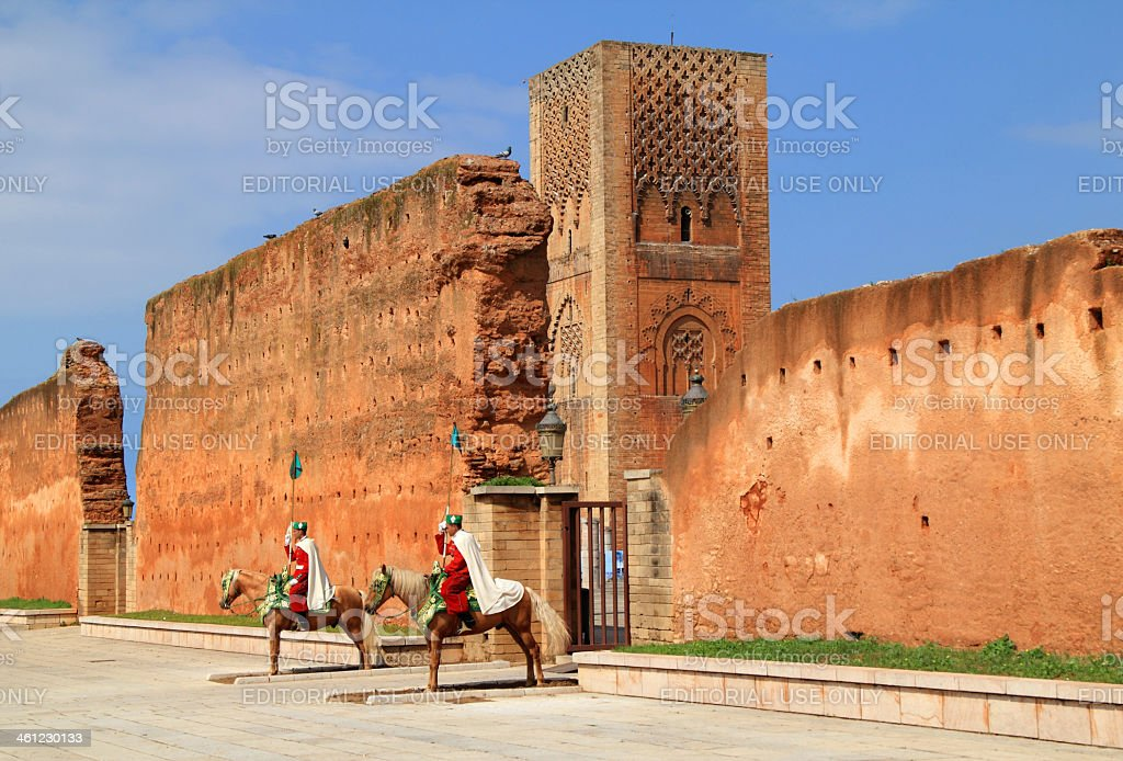 Moroccan Royal cavalrymen, Rabat. stock photo