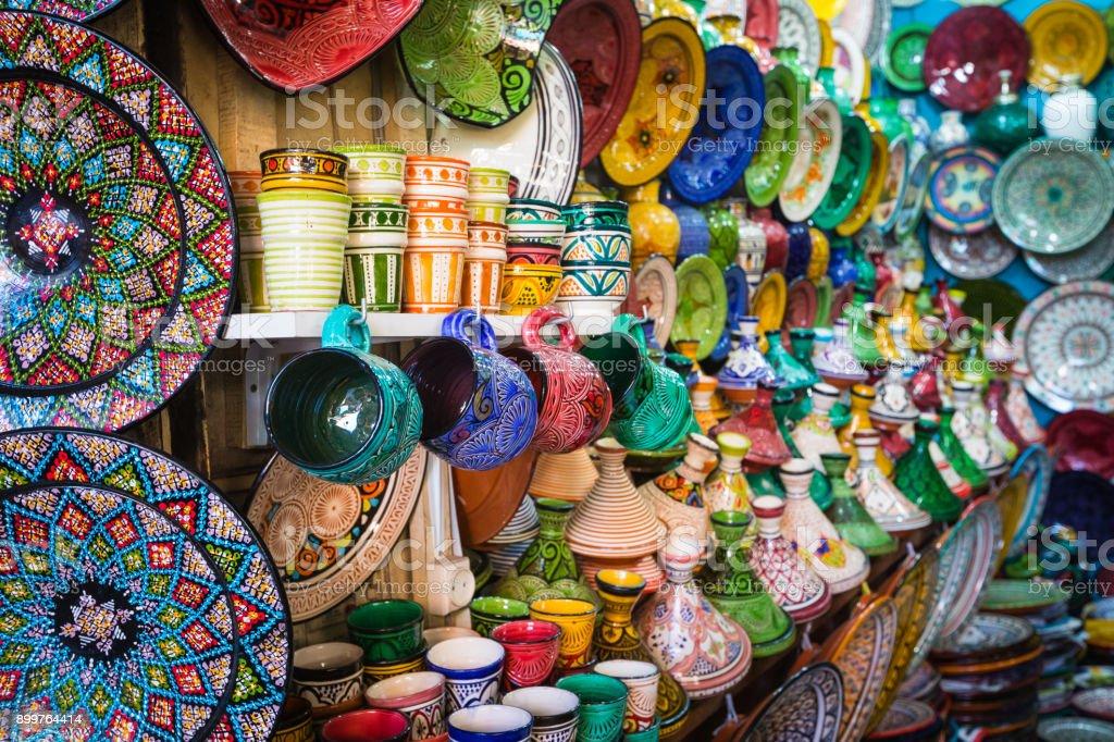 Moroccan souk crafts souvenirs in medina, Essaouira, Morocco stock photo