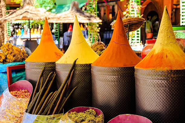 Marokkanische Gewürz-Marktstand in Marrakesch market – Foto