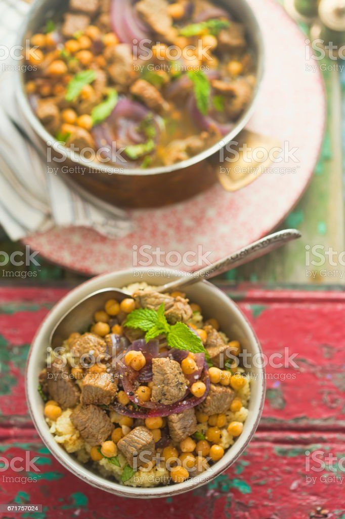 Moroccan spiced lamb stock photo