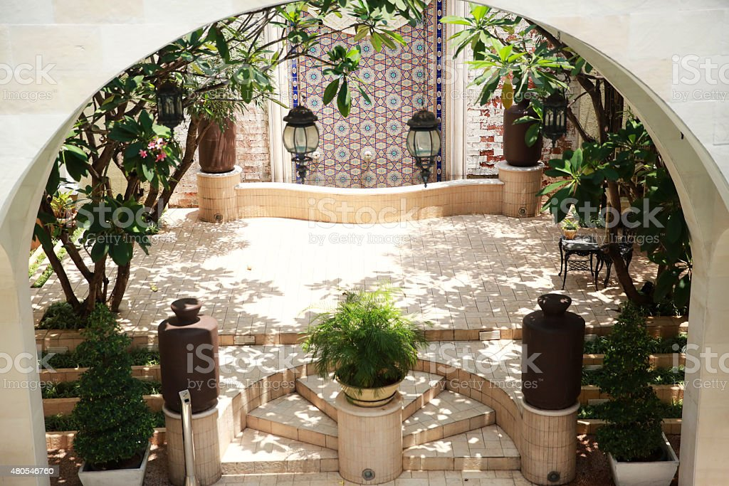 Moroccan style courtyards stock photo