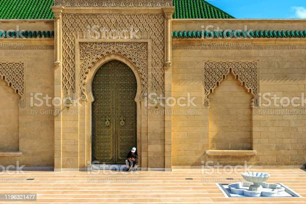Moroccan style's door at the Mohammed V mausoleum in Rabat Morocco, Africa