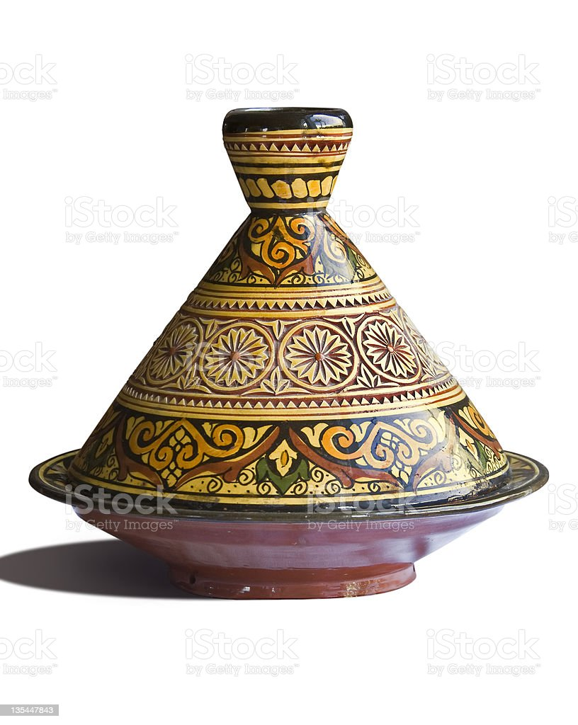 Moroccan tagine on white background stock photo