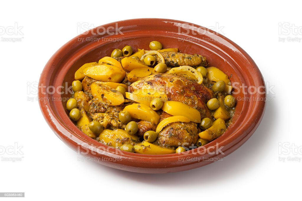 Moroccan tajine with chicken,pototoes and olives stock photo