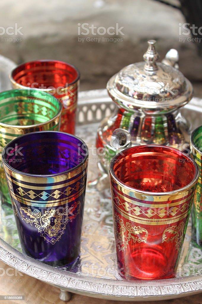 Moroccan Tea Cups stock photo