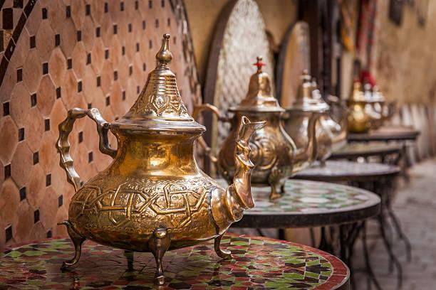 Moroccan Tea Pots stock photo