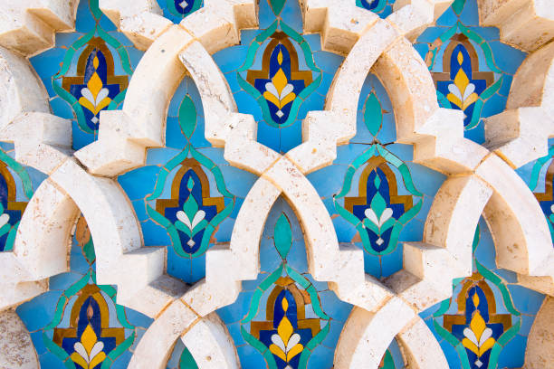 Moroccan tile with traditional patterns, Colorful Moroccan tiles stock photo