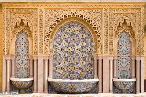 Typical moroccan tiled fountain in the city of Rabat, near the Hassan Tower and Mohamed V Mausoleum. The Mausoleum is a true master-work of Moroccan art. The best craftsmen of morocco took part in the work.