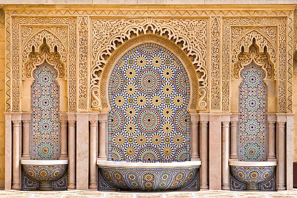 moroccan tiled fountain - rabat marocko bildbanksfoton och bilder