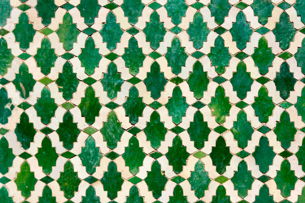 Moroccan tiles with traditional arabic patterns, ceramic tiles patterns as background texture stock photo