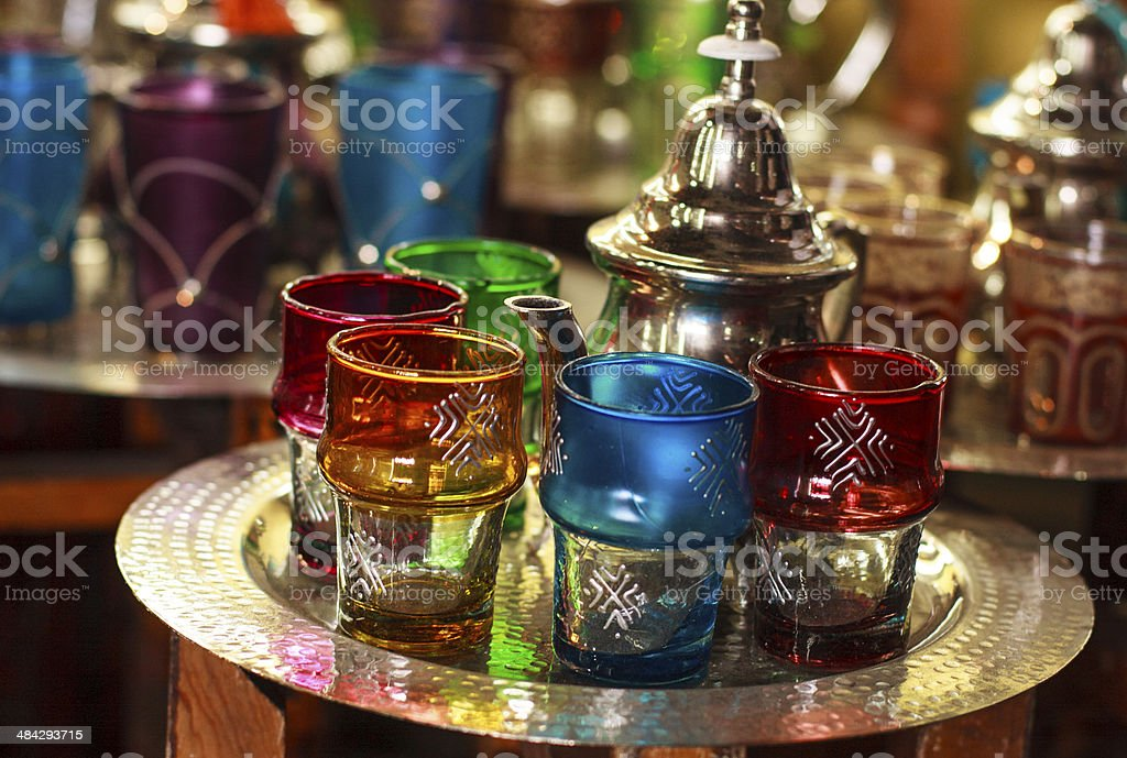 Moroccan traditional Tea - cups , Marrakesh souq, Morocco royalty-free stock photo