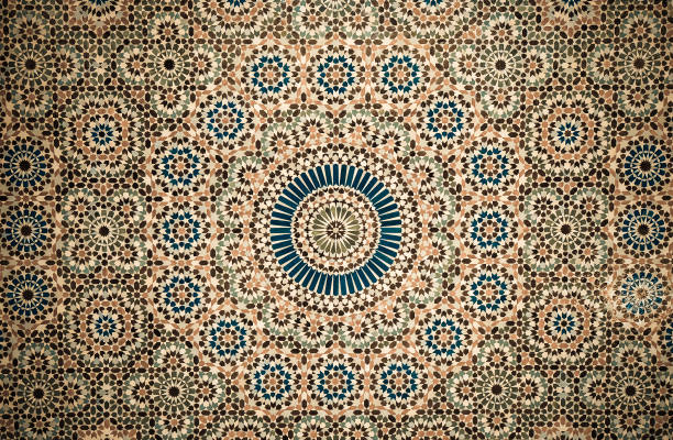 moroccan vintage tile background stock photo