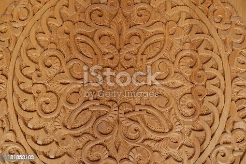 Close up Moroccan wood carving in floral design