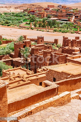 Fortified village (castle) Ait Ben Haddou on a sunny day with clear blue sky on the background.