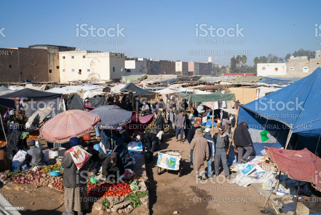 Arabic African cattle and food market in Morocco, close to Essaouira....